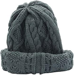 VEFSU Unisex Knitted Baggy Beanie Beret Warm Cap Flanging Brim Oversized Solid Ski Hat