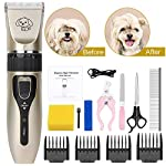 ◆10 in 1 Pet Grooming Kit - The dog grooming tools kit includes 1 × Pet clipper( included Battery),1 × USB, 1 × Cleaning Brush,4 × Comb Attachments(3-6-9-12mm),1 × Stainless Steel Scissor,1 × Stainless Steel Comb,1 × Nail Clipper Kit,1 × Nail File, 1...