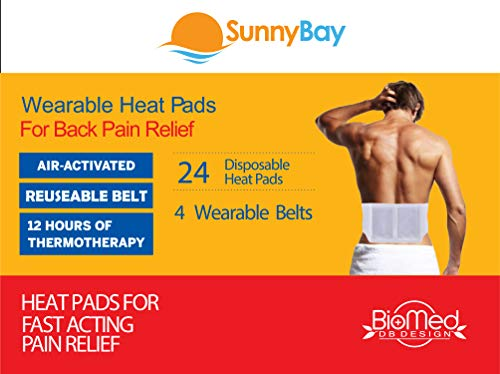 Heat Patches for Body Pain Relief - Disposable Heating Pads for Lower and Upper Back - Period Or Menstrual Cramps Therapy Heatwraps - Air Activated Muscle Heat by Sunnybay (24 Belts)