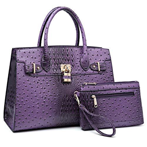 Women Handbags and Purses Ladies Shoulder Bag Ostrich Top Handle Satchel Tote Work Bag with Wallet (Purple)