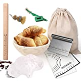 24 Pack Banneton Bread Proofing Basket Set, 10 Inch Rattan Basket, Bread Lame, Dough Scraper, Cloth Liner, Rolling Pin, Silicone Baking mat for Home Baker