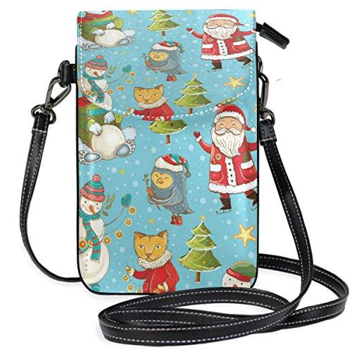 Monedero para teléfono móvil Crossbody Christmas Santa Polar Bear Snowman Owl Small Crossbody Bag Monedero para teléfono Celular Monedero para Mujeres Niñas