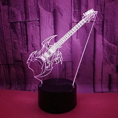 SDHouse Lámpara Escritorio Guitarra LED Color de luz Degradado 3D estéreo táctil Remoto USB luz de Noche mesita de Noche Decorada con imaginación Regalos de Cumplea?os 20 * 13 cm