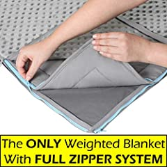 &#9989 REVOLUTIONARY PATENT PENDING ZIPPER SYSTEM: The ONE & ONLY Weighted Blanket On The Market That Uses A Full Zipper System To Easily Attach Or Detach The Blanket From Its Cover. No More Ties Breaking Off, Coming Loose, Weight Shifting Or Blanket...