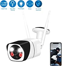 Wireless Security Camera Outdoor,WESECUU 1080P WiFi Home Camera with Floodlight and Siren Alarm,Two Way Audio Security Camera with Smart Human Detection Color Night Vision for Home Shop Factory