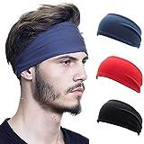 IYOU Diademas Deportivas Yoga Sweatband Bandas para el cabello Fitness Diadema ancha de algodón Cintas de pelo para fitness para mujer y hombres (paquete de 3)