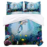 Rellamily Duvet Cover Set 4 Pieces Luxury Microfiber Down Comforter Quilt Bedding Cover with Zipper Closure, Ties - Underwater Mermaid Dolphins Blue Sea Underwater Coral Twin (68 x 86 inches)