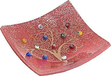 SOSPIRI VENEZIA - Platillo - Árbol de la vida - de cristal con originales murrinas de Murano, oro de 1ª ley y purpurina plateada, realizado a mano por artesanos venecianos, 9 x 9 cm (rojo)