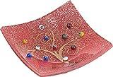 SOSPIRI VENEZIA - Plato – Árbol de la vida – de cristal con originales murrinas de Murano, oro de 1ª ley y purpurina plateada, hecho a mano por artesanos venecianos, 9 x 9 cm (rojo)