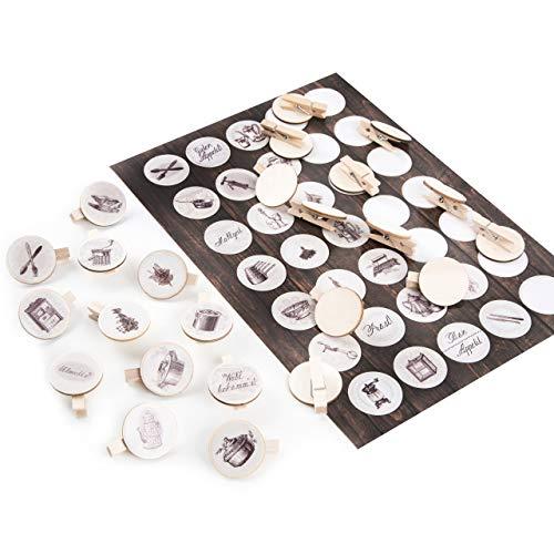 Logbuch-Verlag, keukenstickers, 3 cm + houten wasknijpers, ronde schijf, 3,2 cm, natuur, sticker, keuken, kruidenzakjes, theezakjes afsluiten
