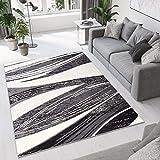 Tapiso® Alfombra para Salón Moderno Piso Cuarto De Estar Colección Dream   Color Gris Oscuro Diseño Ondas   Precio Económico 140 x 200 cm