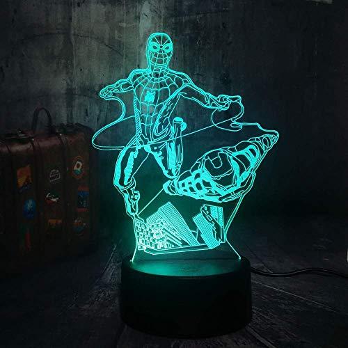 Nachtlampje, aangebrachte illusie lamp nachtlampje noten-tafellamp 7 kleuren licht voor meisjes kinderdaggeschenk vliegen spiderm