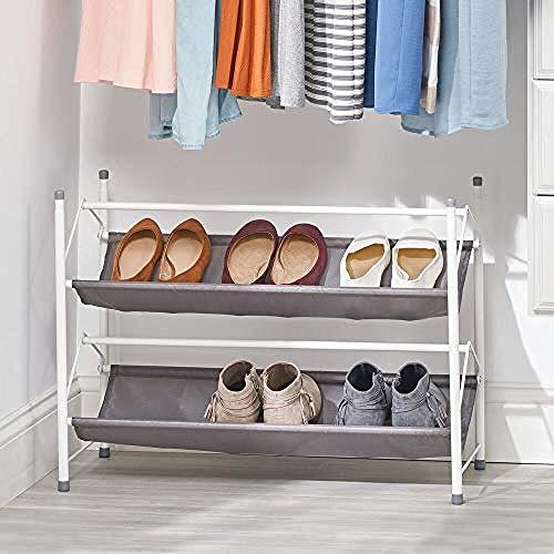 A-Generic Estante de Zapatos con 2 Niveles - Organizador de Zapatos de Metal apilable y Tela: Bandeja de Zapatos compactos para el Pasillo, Armario o Dormitorio - Gris Oscuro y Gris-Blanco/Gris