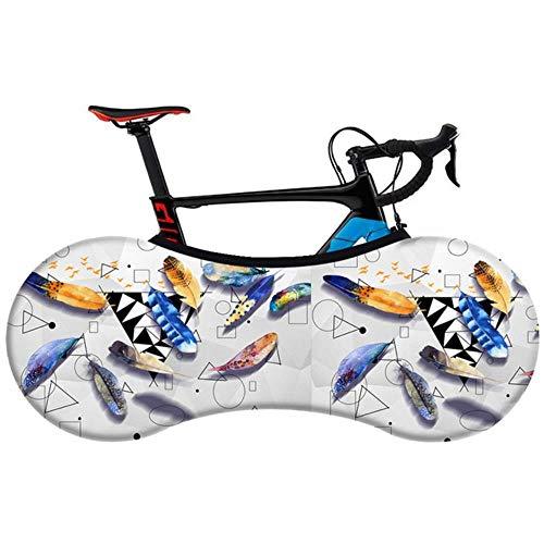 YRDDJQ Serie de Plumas de Moda Cubierta de Bicicleta Elástica Tela Elástica Suave Cubierta de Polvo de Bicicleta de Carretera MTB de 26-28 Pulgadas