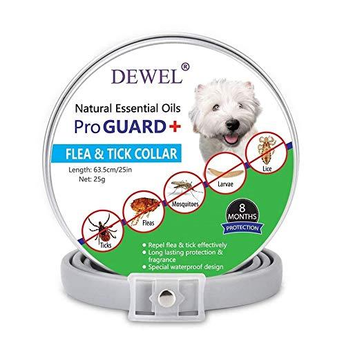 DEWEL 63,5cm Zeckenhalsband für Hunde, Verstellbar Floh-und Zecken Prävention Halsbänder Wasserdicht Flohhalsband gegen Ungeziefer