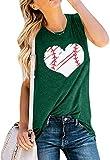 UNIQUEONE Baseball Tank Top Women Funny Heart Baseball Graphic Workout Tanks Cute Casual Sleeveless Tee Shirts(Green, Large)