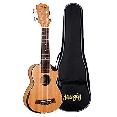 Mugig Concert Ukulele Designed with Nylon Strings, Mahogany Body and Rosewood Fingerboard, with Durable Bag (Muk-1 23 inch) … v (21 inch)