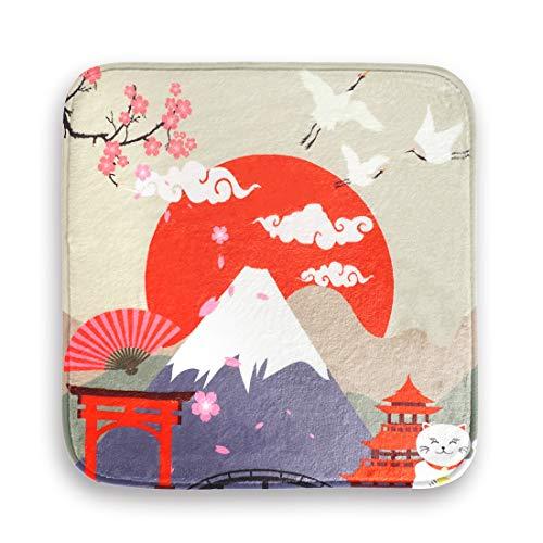 CoolChange Stuhlkissen mit traditionell japanischen Motiven | Asia Deko Sitzkissen mit Malerei | Motiv: Fuji