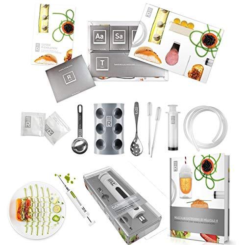 Molecule-R - Kit per cucina molecolare, contiene 1 set di strumenti per sfiziosi piatti gastronomici, 1 siringa da marinatura per iniettare liquidi, 1 ricettario con 40ricette per piatti molecolari