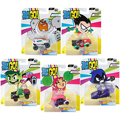 Hot Wheels Teen Titans GO! DC Comics - Set Completo de 5 Modelos Dieca