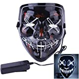 Halloween Mask LED Light up Mask for Halloween Costume Cosplay Festival and Parties