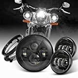 DOT Approved 7inch Black Harley LED Headlight with 4.5 inch Matching Black Passing Fog Lamps for Harley Davidson Motorcycles with Mounting Bracket and Wire adapter