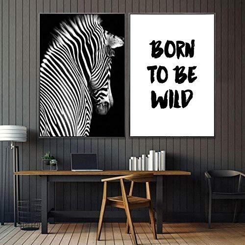 SNUMDQW Decorazioni per la casa Moderne Pittura su Tela Animale Zebra e Alfabeto Inglese Poster Arte in Bianco e Nero Pittura Decorazioni murali-50x70cmx2p Senza Cornice