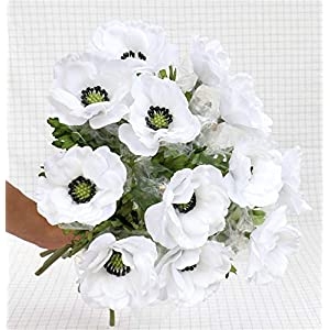 Skyseen 6Pcs Artificial Pulsatilla Chinensis Fake Anemone Flower Windflower Bouquet for Home Wedding Party Decoration (White)
