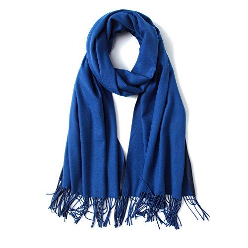 FORTREE Kaschmir-Feeling, leichte Schals für Damen, groß, weich, zweifarbig, 10 Farben erhältlich - Blau - Large
