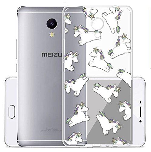 Sunrive Meizu M5S Hülle Silikon, Transparent Handyhülle Schutzhülle Etui Hülle Backcover für Meizu M5S(TPU Einhorn)+Gratis Universal Eingabestift