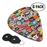 Fashion 351 Shape Guitar Pick, Music Lovers - World Beer Bottle Caps Set Guitar Plectrums 6 Pack 0.96mm
