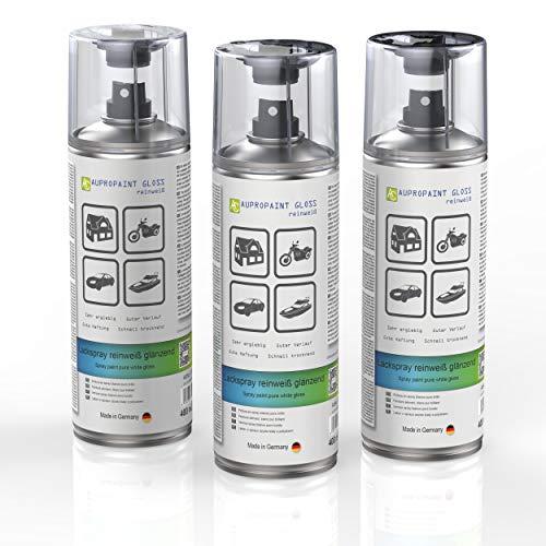 AUPROTEC Lackspray AUPROPAINT Gloss weiß glänzend Sprühlack Glanzlack Auto Lack Spray 3X 400ml