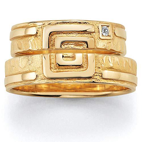 CORE by Schumann Design Trauringe/Eheringe aus 585 Gold (14 Karat) Gelbgold mit echten Diamanten GRATIS Testringservice & Gravur MEANDER