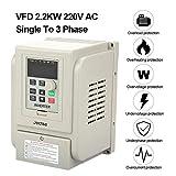 Inverter Convertitore Frequenza Monofase / Trifase AC220V VFD,AC 220V 2,2KW PWM Controllo,Invertitore Azionamento Con Dissipatore,Ciclo Chiuso V / F Frequenza Variabile Regolatore Velocità