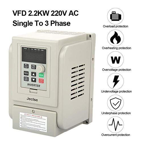 Frequenzumrichter AC220V 2,2 kW,Jectse Einphasiges VFD Frequenzumrichter Antrieb Inverter Schutz vor Überstrom, Überspannung, Überhitzung, Unterspannung, Kurzschlussschutz