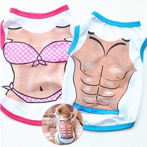 iSunday 2pcs Haustier Hund Hemden Set Bikini Muskel Aufdruck Atmungsaktiv Strand Weste für Welpen Hunde - Small