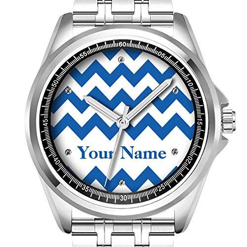 Personalisierte Herrenuhr, modisch, wasserfest, Diamond_419.Denim, blau, fett Chevron mit Monogramm