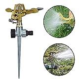 ZSWQ Aspersor con Estaca, Aspersor de Impacto,Aspersor de Metal para jardín, Herramientas Sistema De Riego De Jardín