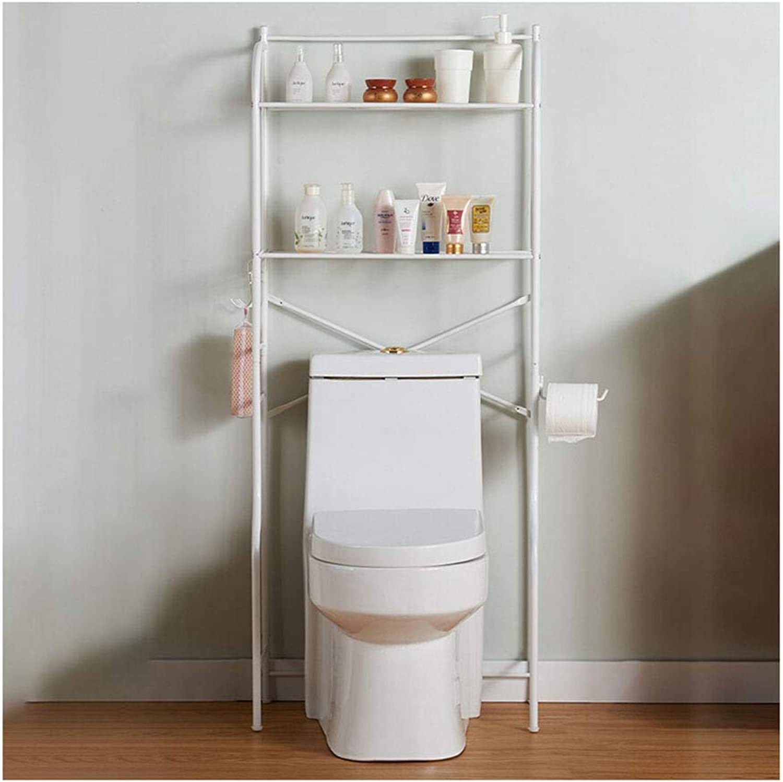 Kitchen Storage Shelf 2 Layer White Practical Bathroom Rack Bathroom Space Savers Carbon Steel Storage Rack-58x28x140cm Organisation