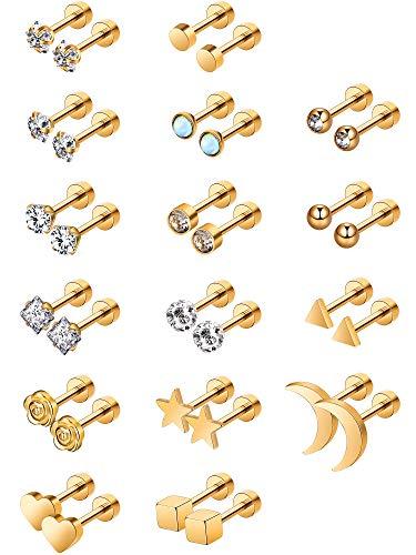 Aretes de Acero Inoxidable Pendientes de Botón de Barra con Pesas de Tragus Cartílago Piercings de Tornillo de Oreja CZ de Incrustado de Diamante de Imitación, 16Pares (Oro)