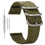 exquisitos Correas de Reloj de Nylon de los Hombres de Lujo Correas de reemplazo Estilo de la NATO ejército 20mm perlón Textil Verde