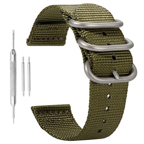 22 millimetri esercito della fascia dell'orologio braccialetto da uomo Premium Deluxe verde stile morbido nylon robusto casual sport