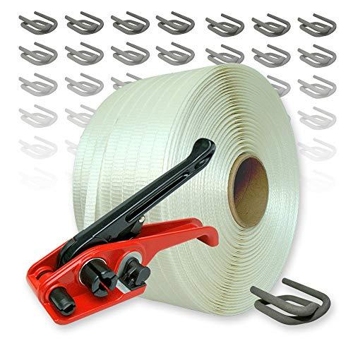 Textil Umreifungsset gewebt HD, 19 mm - 400 m Umreifungsband mit Bandspanner und Verschlussklemmen