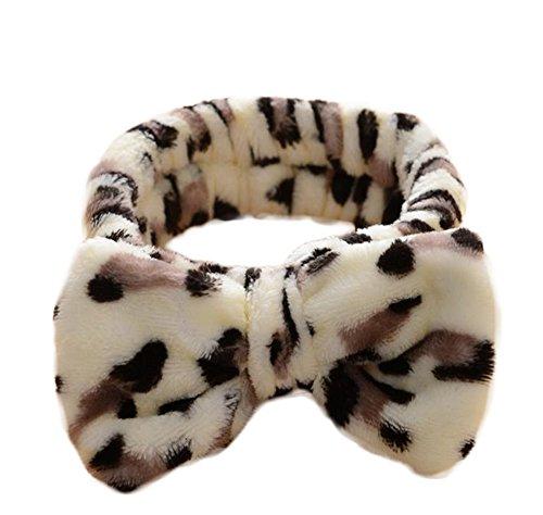 Demarkt Bowknot Haarband Stirnband für Make up Kosmetik Dusche Café Leopard