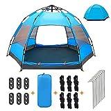 XISHUAI Tente de Camping 3-4 Personnes - 100% Anti UV Pop Up...