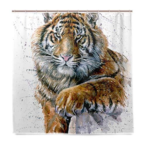 BALII Bali Aquarell-Duschvorhang mit Tiger-Motiv, 182,9 x 182,9 cm, Polyester, wasserdicht mit 12 Haken für Badezimmer