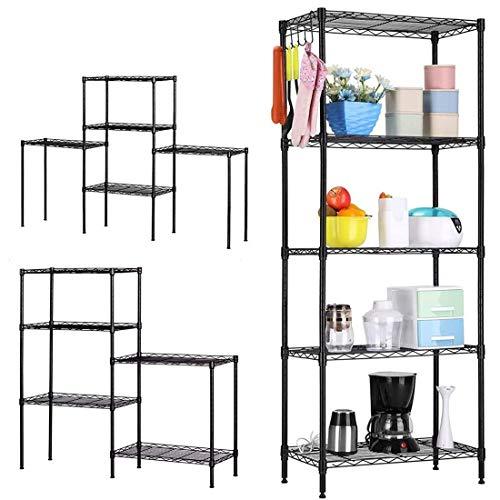 Layee 5 Tier Wire Shelving Unit, Storage Rack Shelf Heavy Duty Metal Shelves Assembly Floor Standing Carbon Steel Storage Rack for Bathroom Office