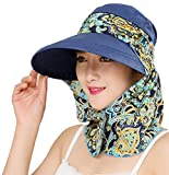 Roll Up Wide Brim Sun Visor UPF 50+ UV Protection Sun Hat with Neck...