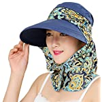 2-in-1 Folding Roll Up Wide Brim Sun Visor Cap UPF 50+ UV Protection Sun Hat with Detachable Neck Protector Hood for…