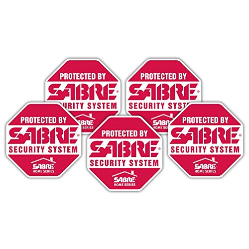 SABRE Security Signs - Home Security Decals - 5 Bright Red,...